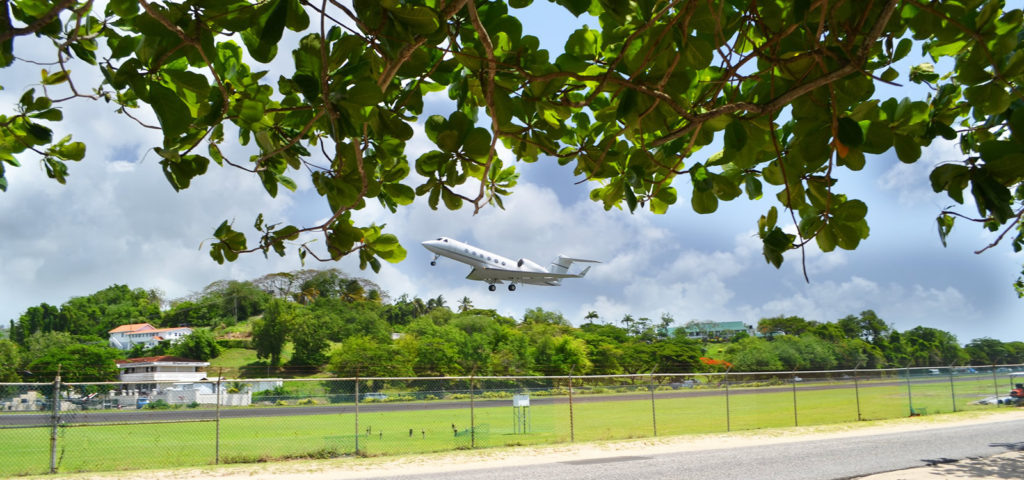 Private jet taking off from St Lucia