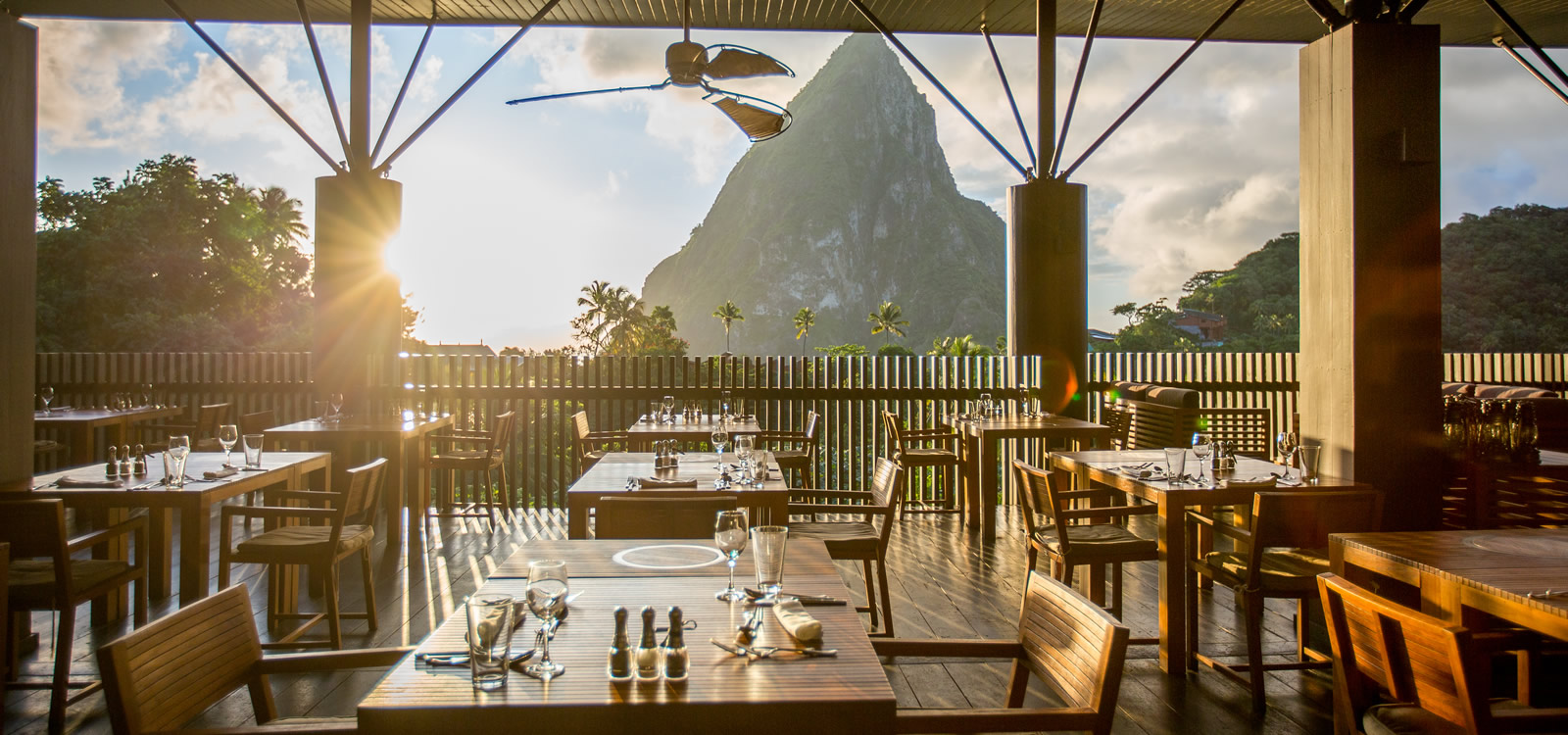 The restaurant at Boucan by Hotel Chocolat, St Lucia
